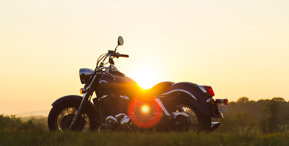 Motorcycle in the sun